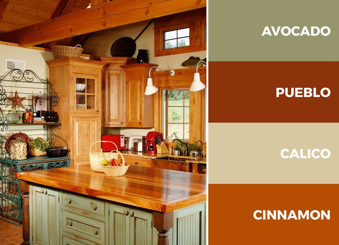 This Green Beige And Brown Kitchen Color Scheme Is The Perfect Combination For This Traditional Farmhou Kitchen Colour Schemes Red Kitchen Walls Kitchen Color