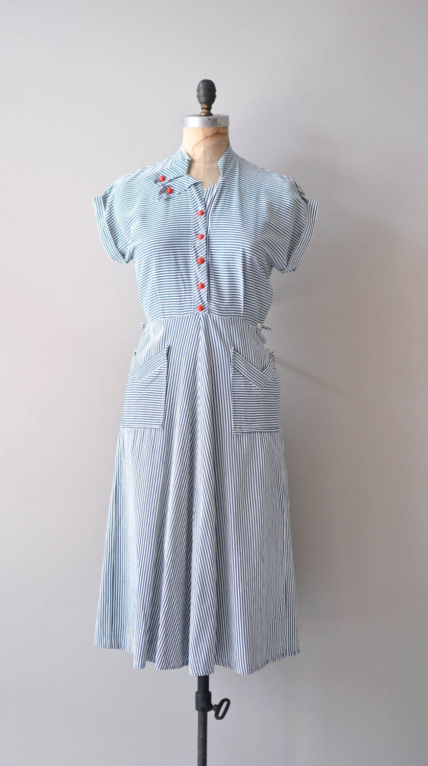 Vintage s dress nautical s dress seafarer by deargolden