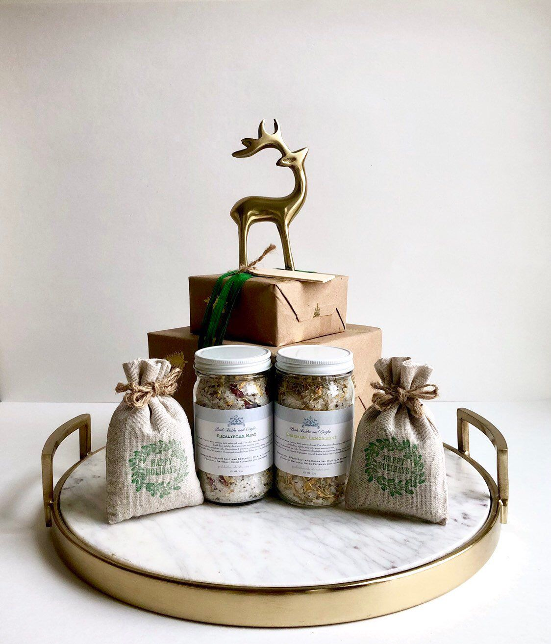 Bath salts in a jar with lavender sachets gift set