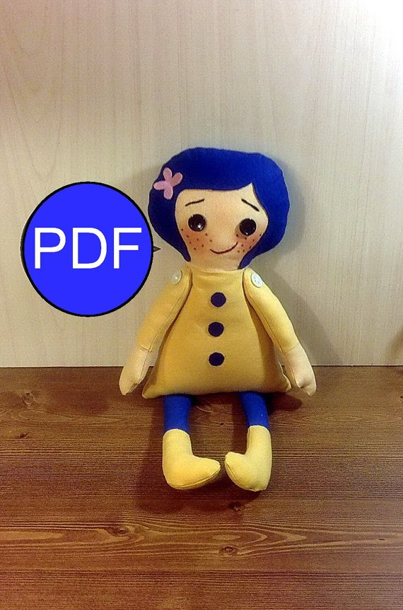 Rag Doll Sewing Pattern And Tutorial In English Instant Download Make Your Own Coraline Doll With This Pdf Pat Coraline Doll Rag Doll Pattern Soft Dolls