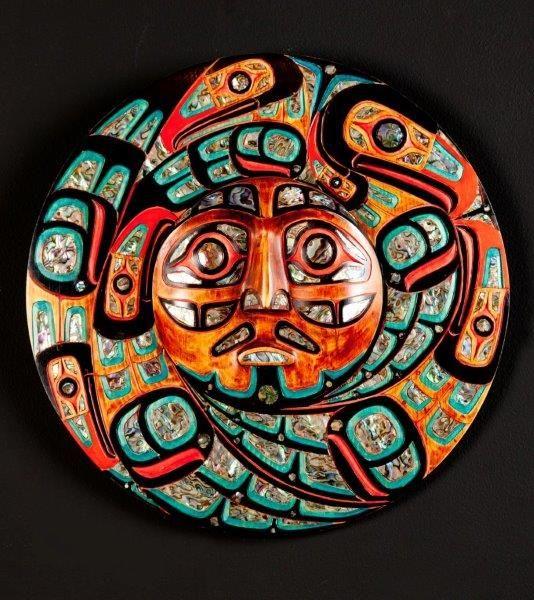 Eagles Eclipsing The Sun Mask By Jacob Lewis Coast Salish South American Art Native Art Tribal Art