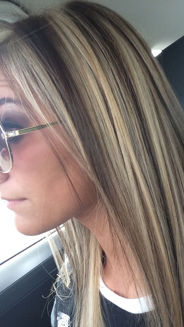 Light brown hair with chunky highlights