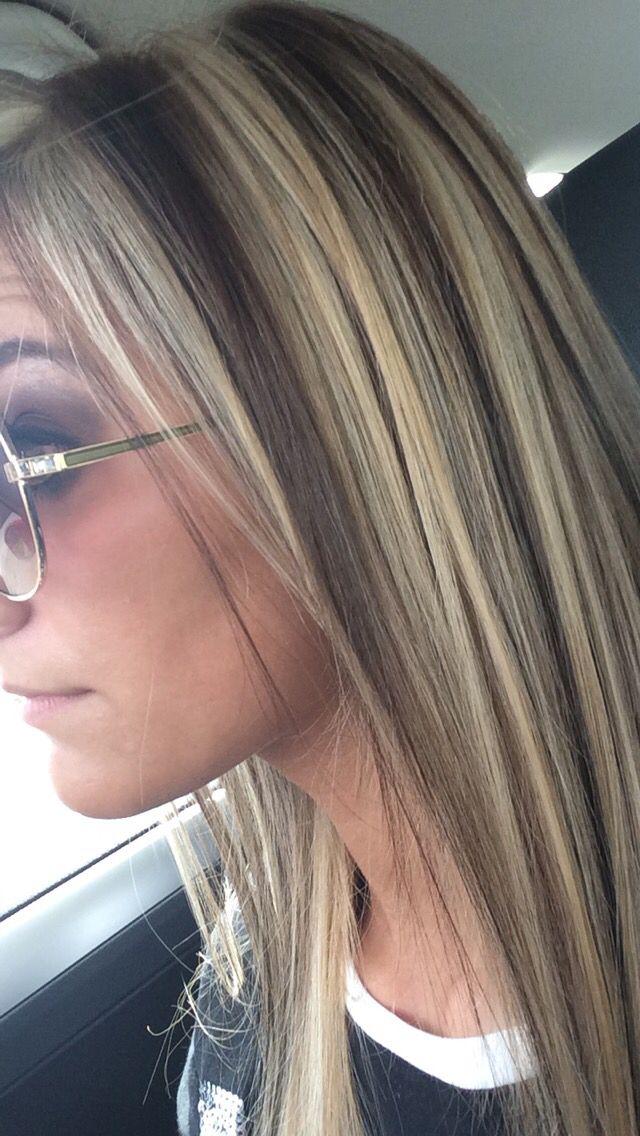 Chunky Brown Lowlights Highlights Blonde Hair Color Hair