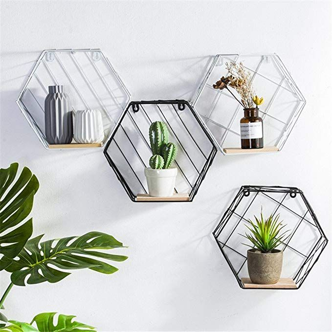 Metal Iron Amp Wooden Wall Mounted Floating Shelves Hexagon