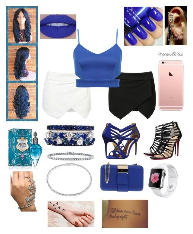 """""""A Night in Blue & Black or White"""" by aryannaaaa on Polyvore featuring FerrariFirenze, BERRICLE, Suzanne Kalan, Ted Baker, Christian Louboutin, Furla and Mike Saatji"""