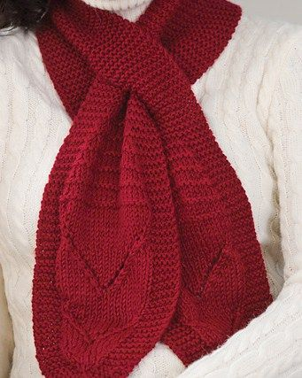 Free Knitting Pattern For Beginner Keyhole Scarf Knitted Neckwear