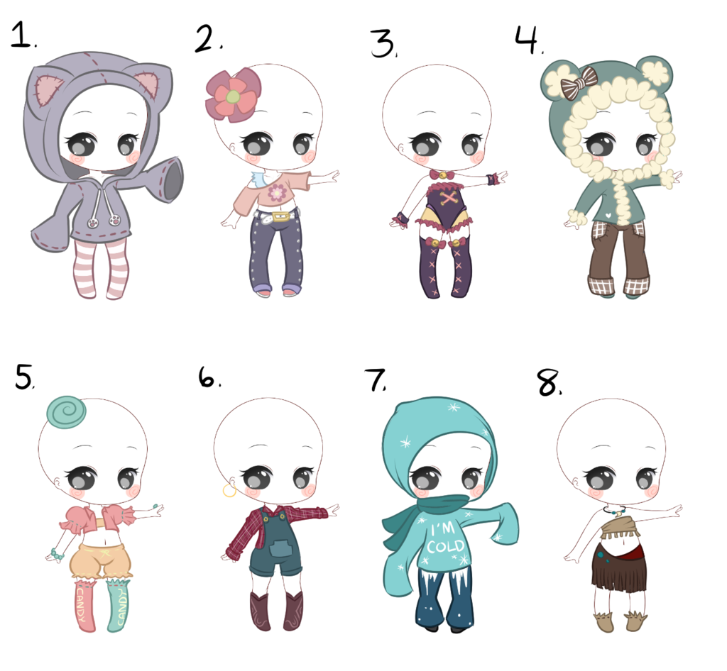 Outfits 1-8 (1/8 OPEN) by Smelly-Mouse on DeviantArt