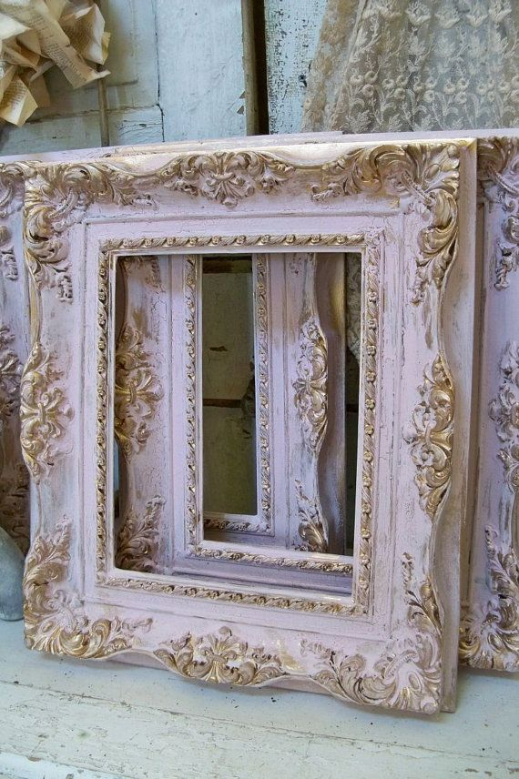 Shabby Chic Pink Frames Soft Muted Colors Gold Accent Lightweight