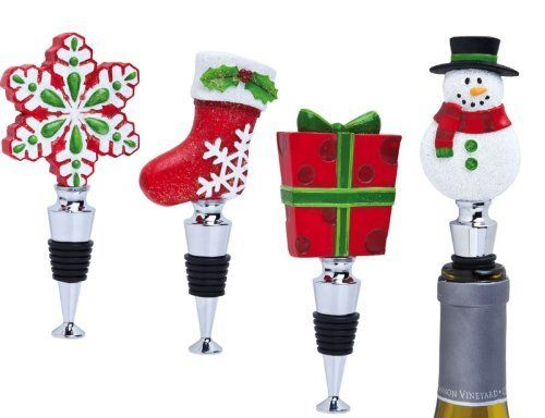 """Barware, Holiday,Wine Stopper,Metal and Resin,1.18x0.79x2.17 Inches,Assorted 4 by Cypress Home. $39.88. Hand Made for a great personalized gift!. Assorted 4. Durable metal wine stopper with a hardy rubber stop for a tight seal;Individually wrapped and packaged in a giftable box;Functional and decorative. The size is: 1.18""""x0.79""""x2.17"""". Metal and Resin. Don't let your good wines go bad! Save them for later with this stunning winestopper, that is sure to turn heads."""
