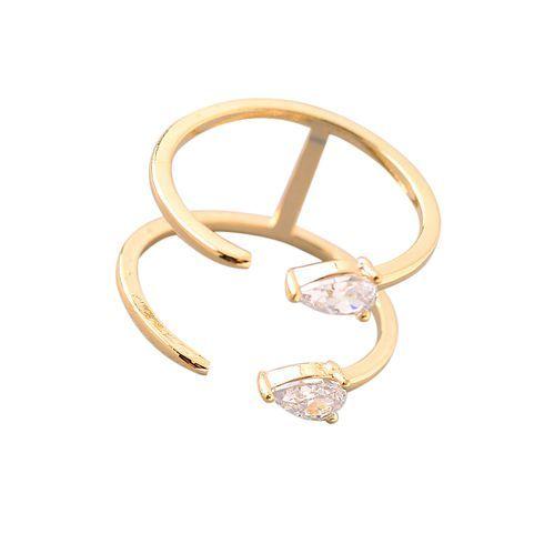 Tiny Double Crystal Teardrop Ring