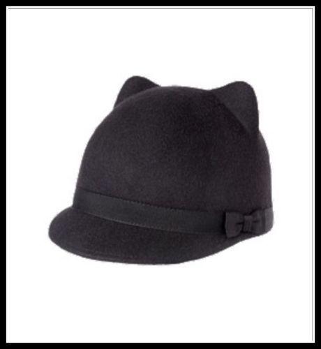 8e129ae6a02 NWT Gymboree Wool City Kitty Ears Riding Cap Hat Black 2T