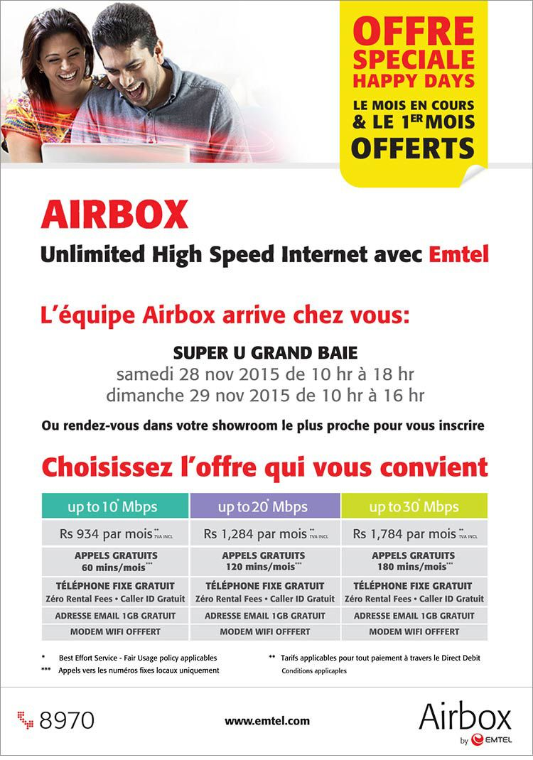 Airbox by Emtel – Special Happy Days Offer. Tel: 8970