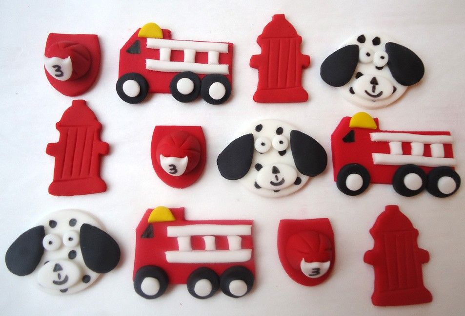 Edible Cupcake Decorations Fire Truck Fire Fighter Fireman