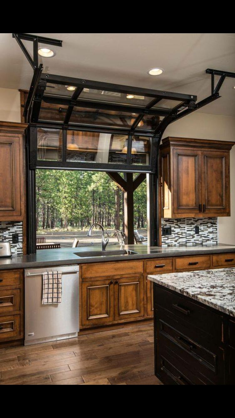 Neat idea for kitchen window! Especially for an open pass to an outdoor kitchen area ...