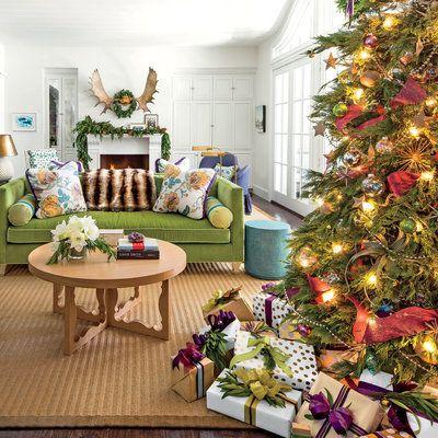 Tilton Fenwick Does Christmas in Austin Foo dog, Green velvet sofa