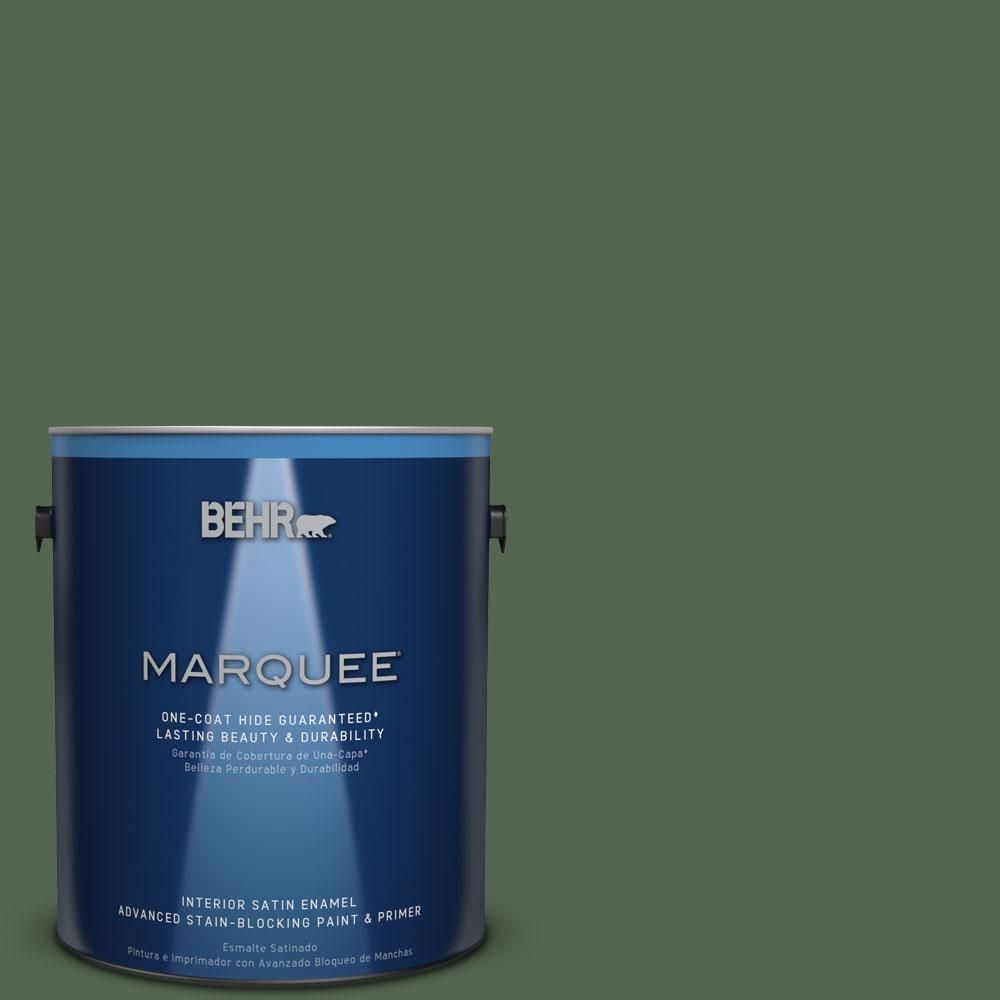 BEHR MARQUEE 1 Gal. #S410 7 Equestrian Green One Coat Hide Satin