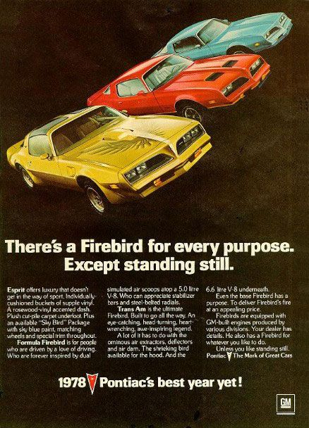 Pontiac Firebird Esprit decals | Pontiac Firebird Sky Bird : 1978