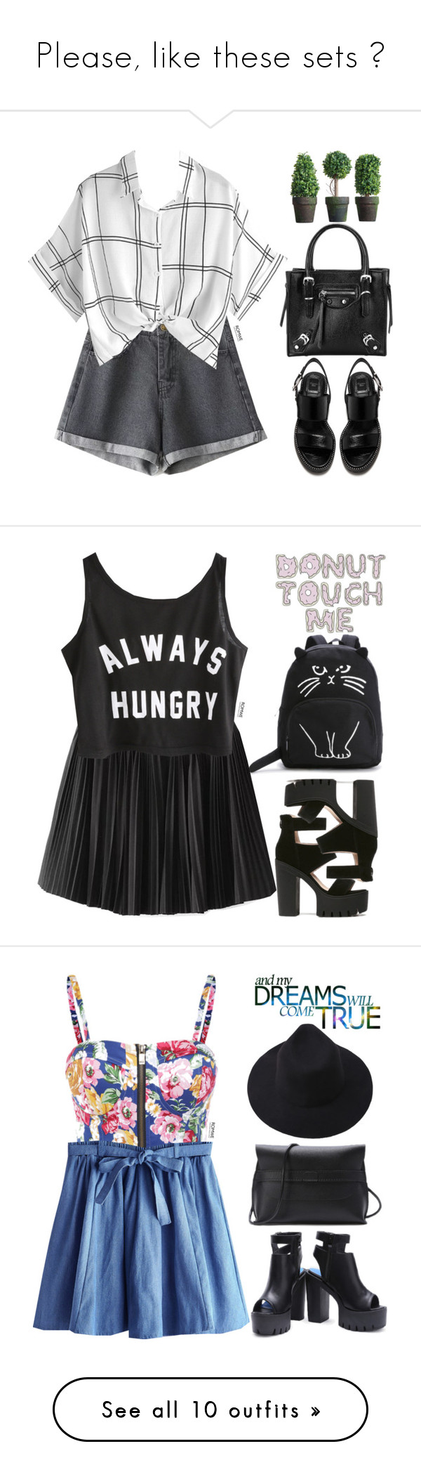 """""""Please, like these sets ♥"""" by fifthdegree ❤ liked on Polyvore featuring blackandwhite, romwe, GET LOST, floral, Dot & Bo, fashionista, Summer, puravida, vintage and simple"""