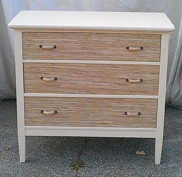 Client Order Seagr Wallpaper Drawer Fronts With Painted Antique Dresser Ad Rope Handles
