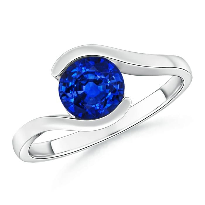 Angara Solitaire Bezel-Set Blue Sapphire Vintage Ring in 14k White Gold o2AUkN
