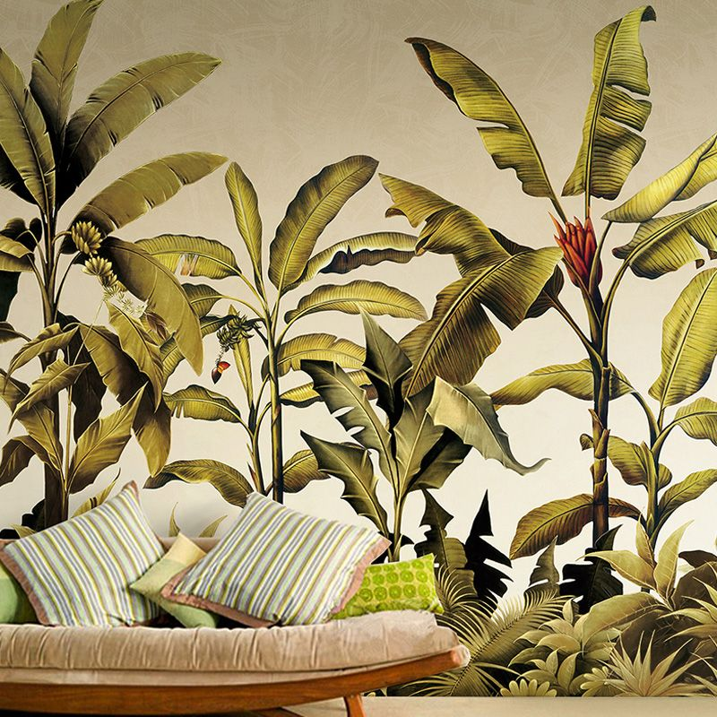 Free shipping southeast asian tropical green plant for Asian mural wallpaper
