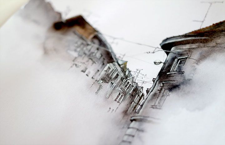 Les vaporeuses aquarelles darchitectures de Sunga Parc Dessein de dessin