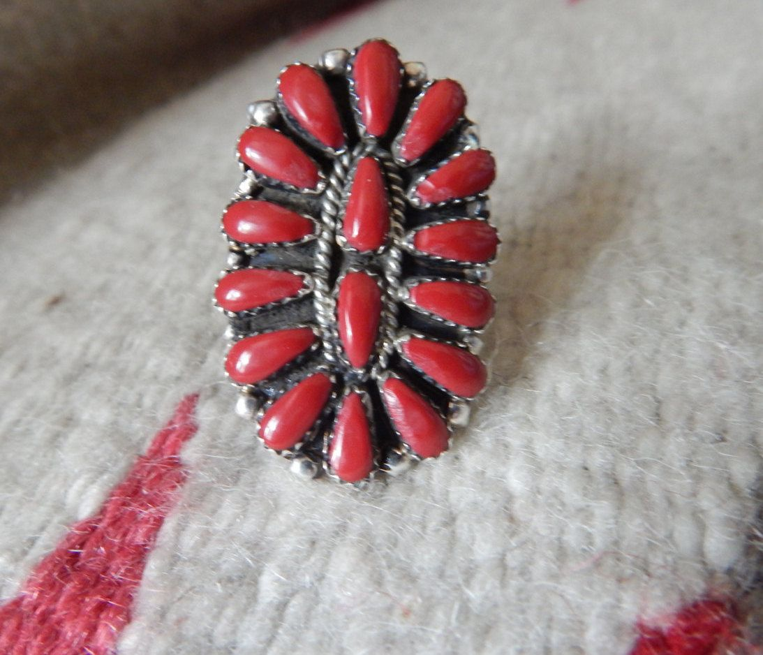 coral ring size 8 sterling ring Native American ring Native American Jewelry Navajo U.S.A...Texas estate jewelry horse pow wow Cherokee by LittleCherokeeValley on Etsy