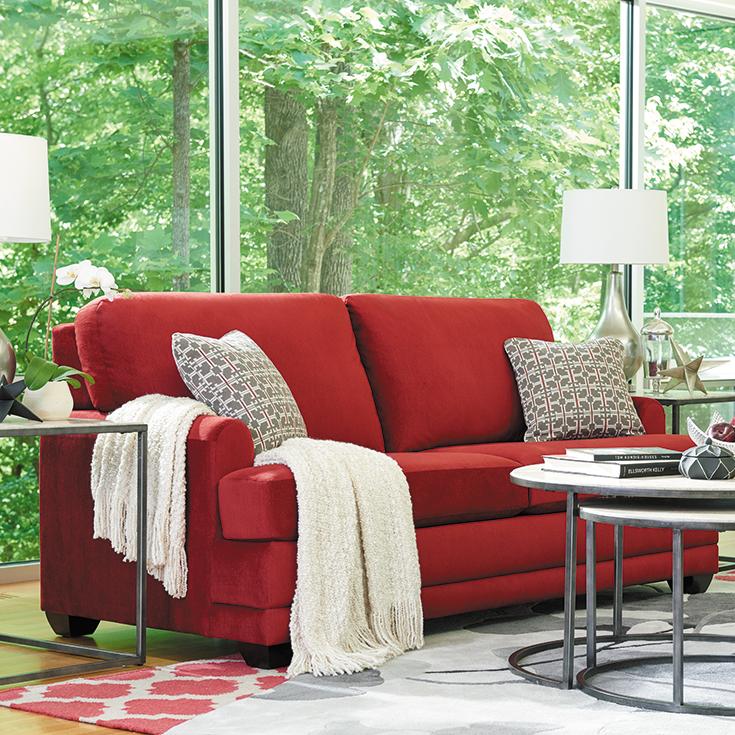 A deep T-seat and plush back cushions give the La-Z-Boy Rachel sofa ...