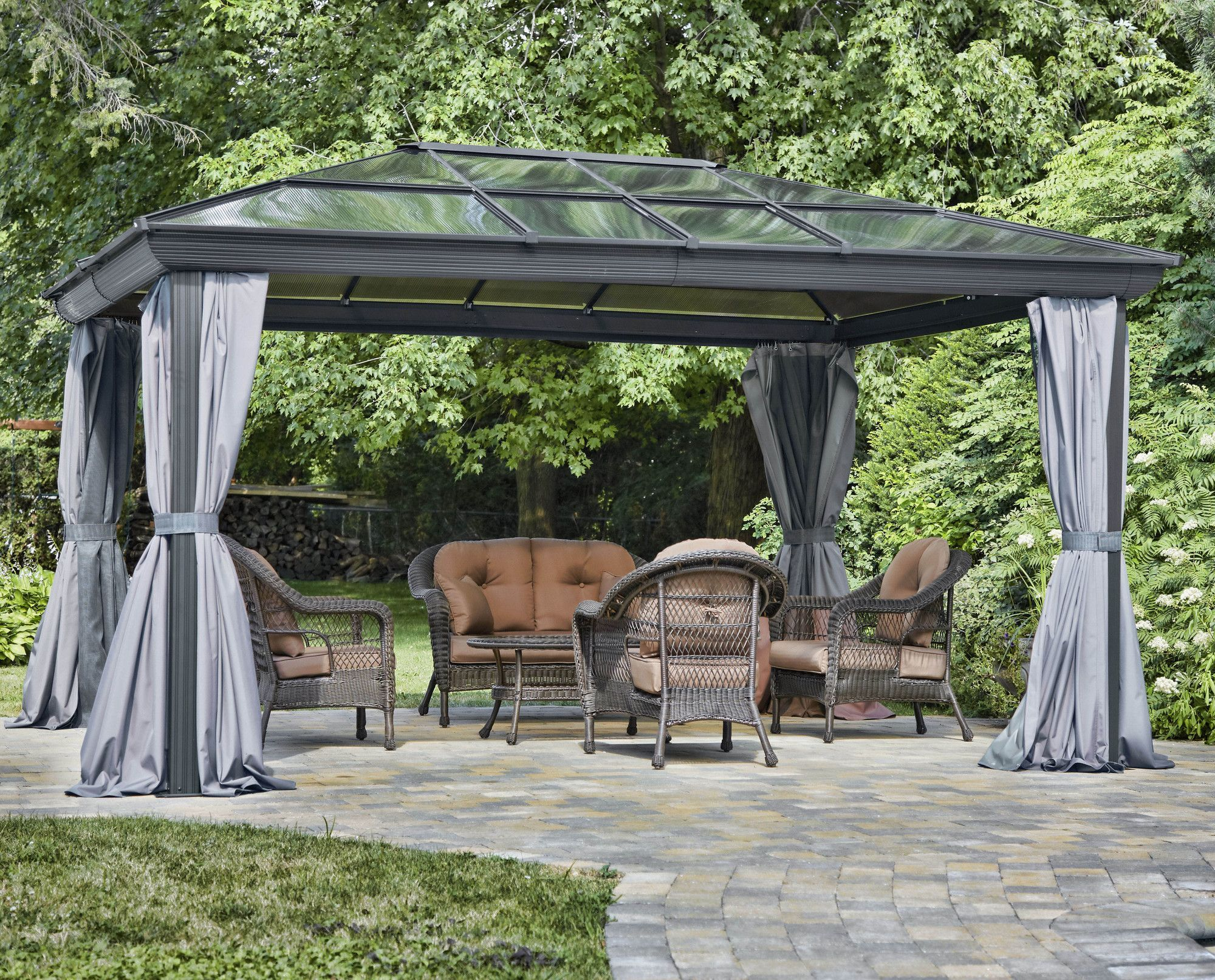 Four Season 12 Ft W X 16 Ft D Gazebo Canopy Outdoor All Seasons Gazebo Hardtop Gazebo