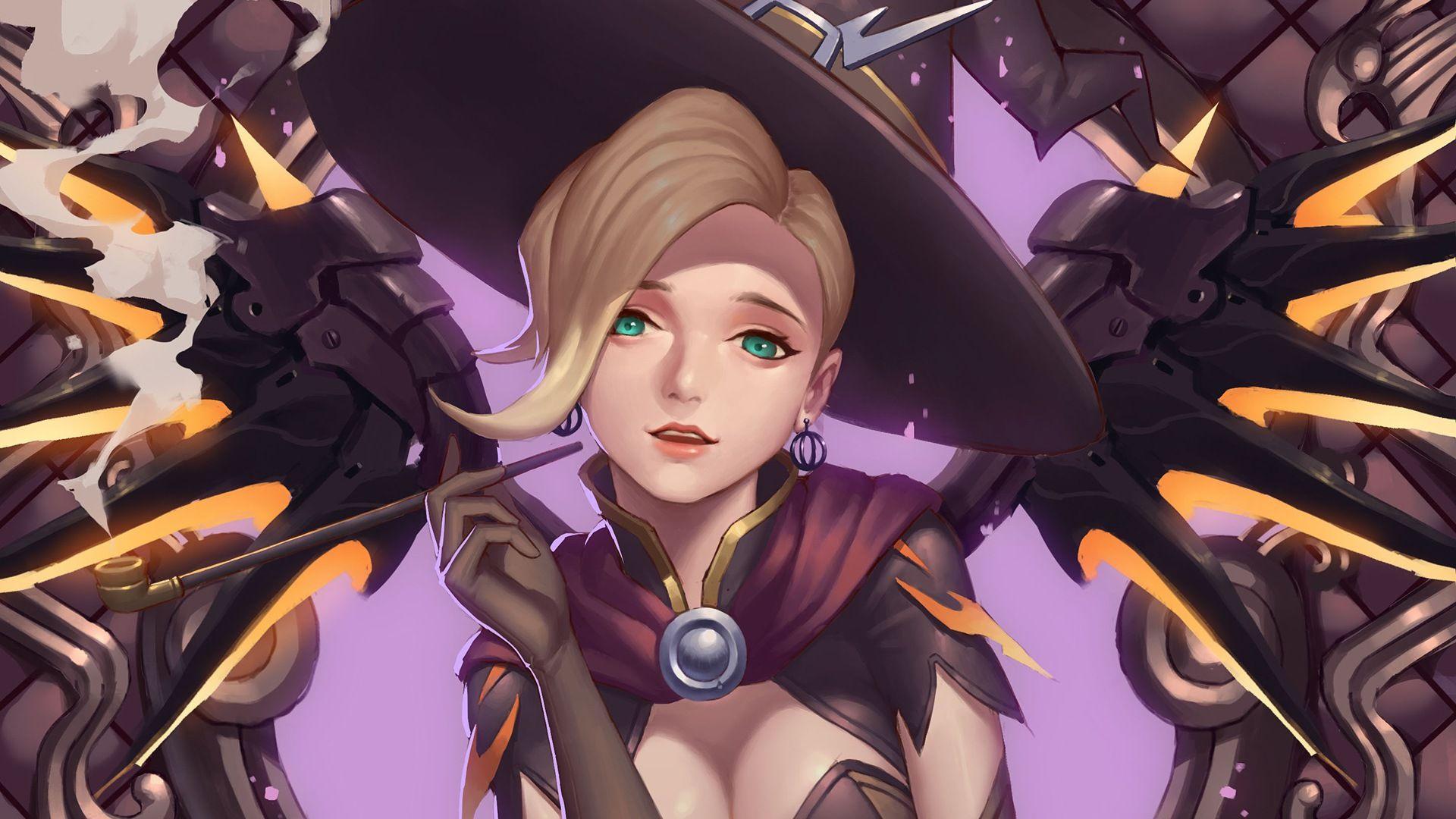 Witch Mercy Halloween Overwatch Girl overwatch