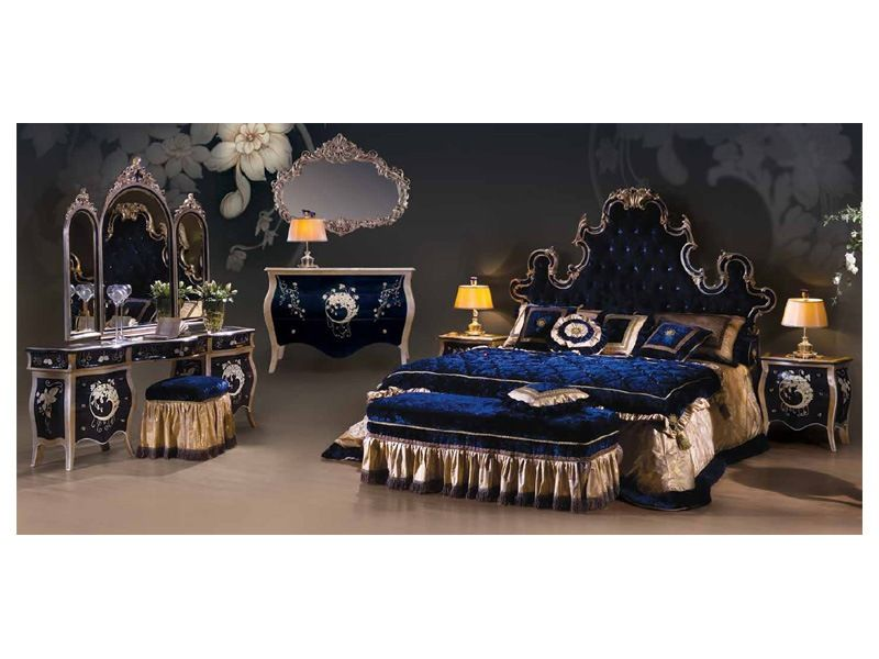 Midnight Blue Bedroom Set Marbled Lacquered Wood With