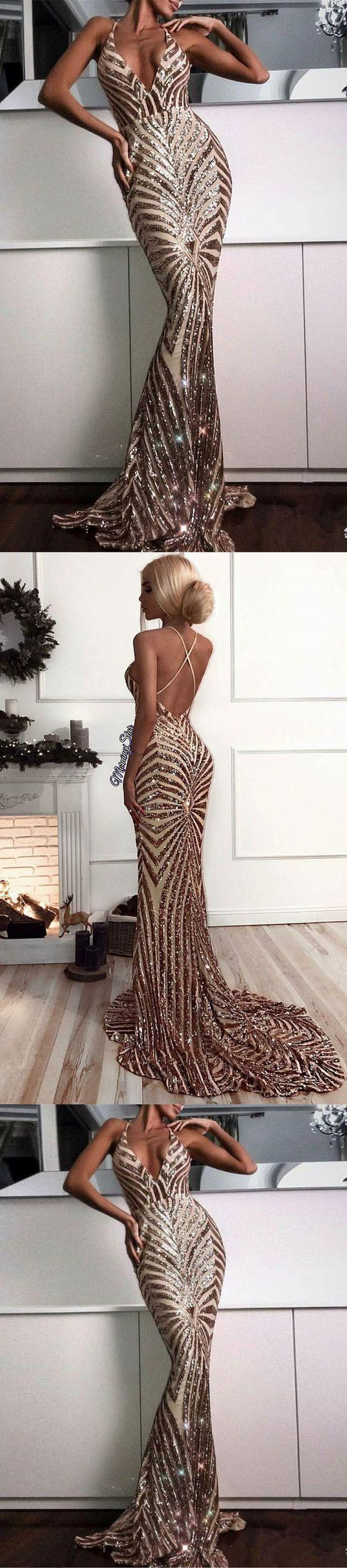 Trumpetmermaid prom dresses spaghetti straps sparkly rhinestone