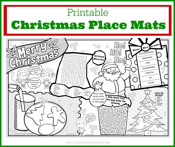 This free printable christmas placemat will keep kids