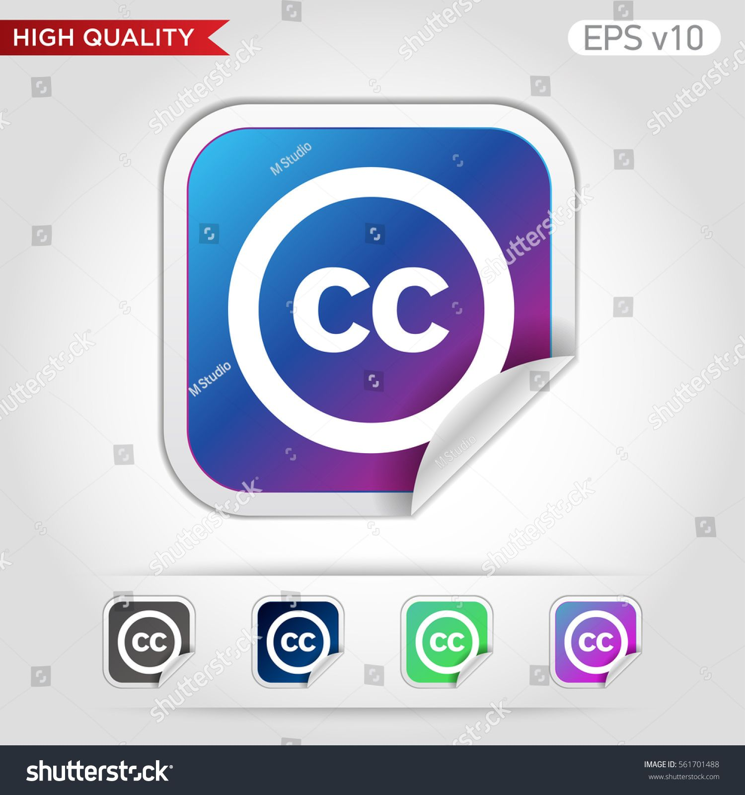 Colored icon or button of CC symbol with background Ad