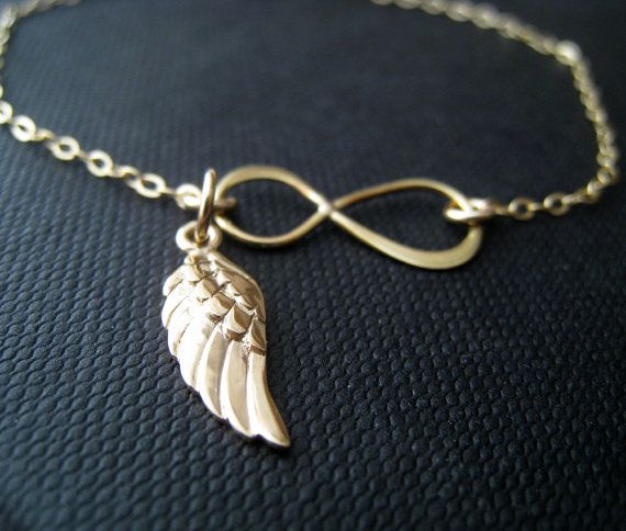 Gold Infinity Bracelet With Angel Wing Charm Golden By Nymetals 29 75