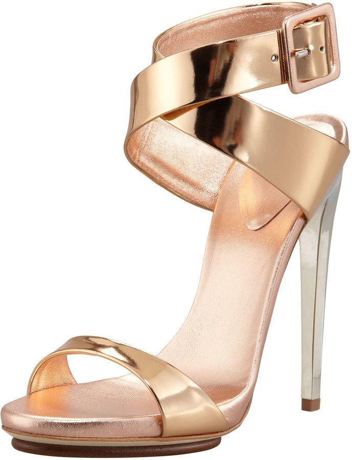 471df0fb4ca04 Giuseppe Zanotti Big-Buckle Ankle-Wrap High-Heel Sandal, Copper on shopstyle .com