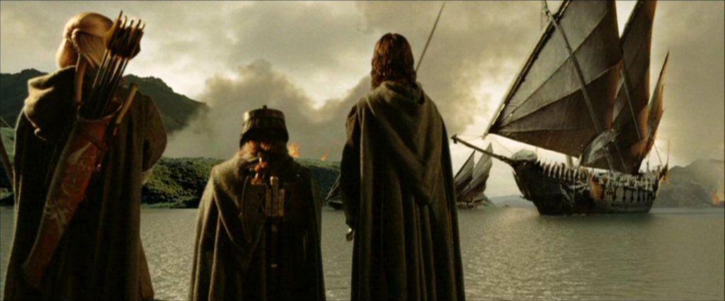 Legolas, Gimli, and Aragorn awaiting the Corsair ship