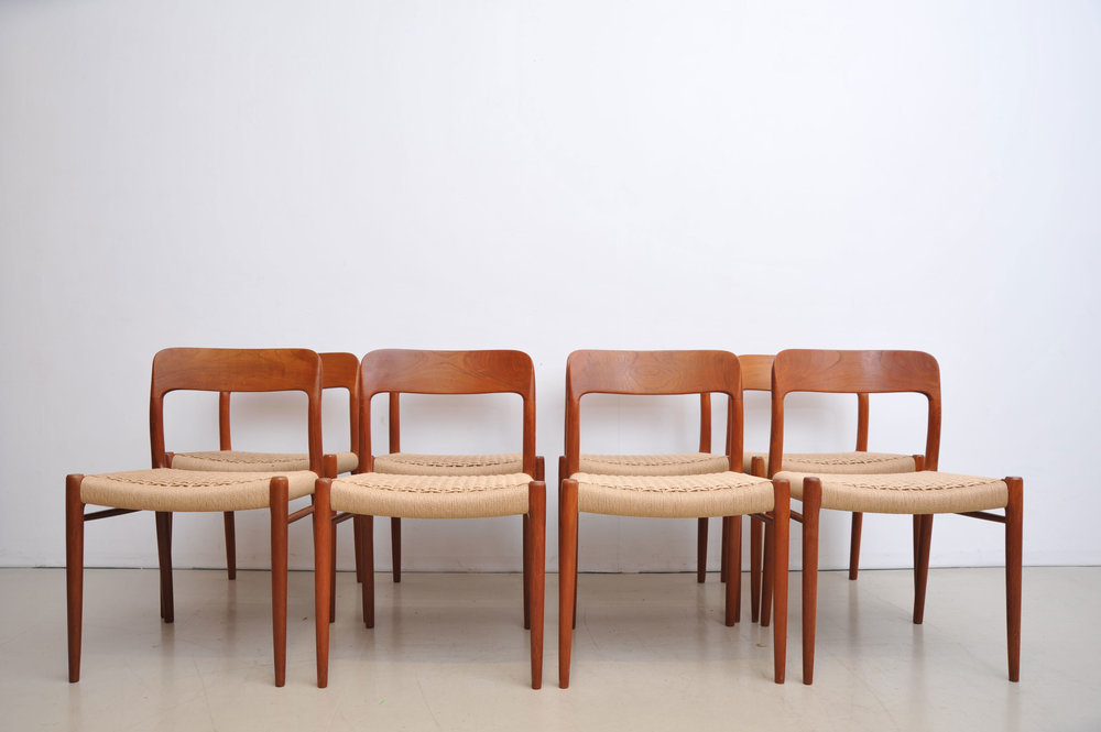Set Of 8 Niels Moller Chairs In Teak Model 75 By Jl Moller Chair Dining Chairs Teak