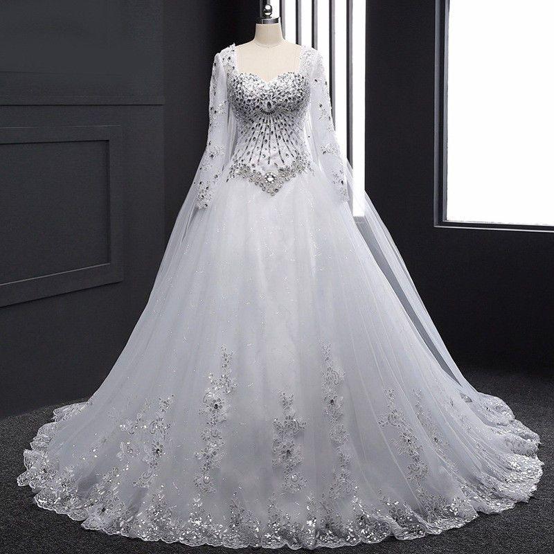 New Bandage Tube Top Crystal Wedding Dress Long Sleeve Bridal Gown Sweetheart Wedding Dress Wedding Dresses Beaded Long Sleeve Bridal Gown