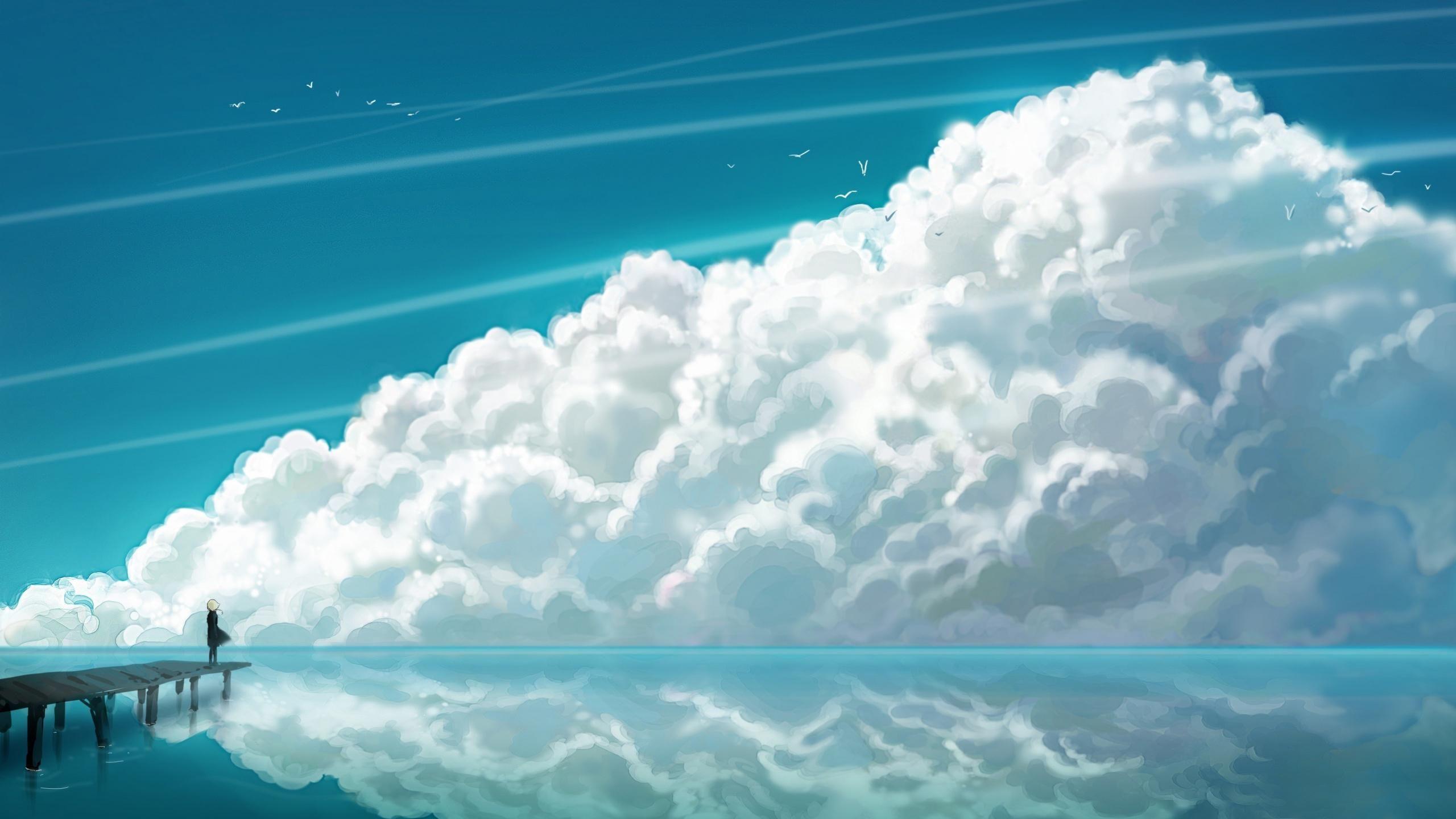 Sky Clouds. [2560x1440] Anime scenery wallpaper, Scenery