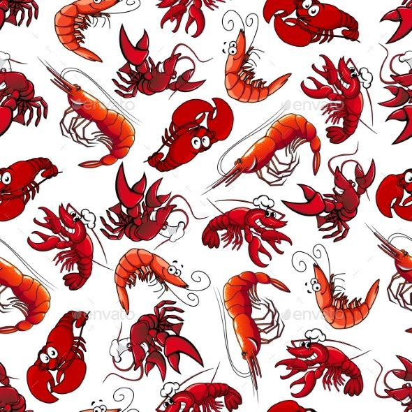 Lobsters and Shrimps Seamless Pattern - Backgrounds Decorative