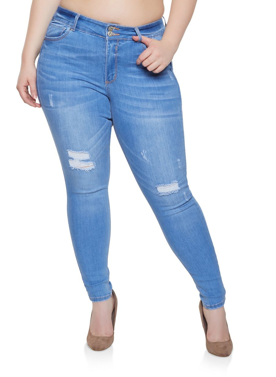 7a3885cce6e Plus Size WAX Push Up Skinny Jeans - LIGHT WASH - Size 14