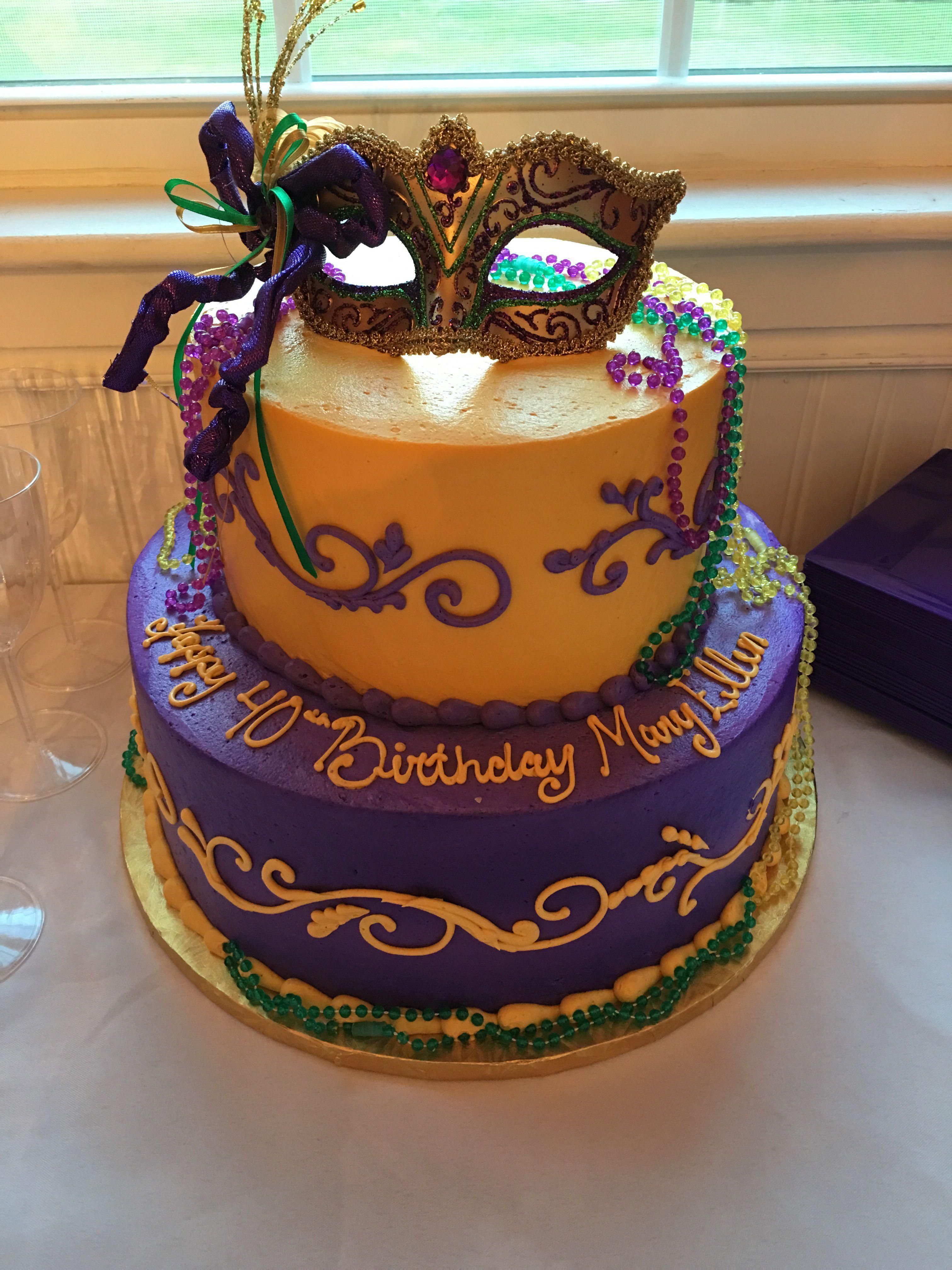 Mardi Gras 40th Birthday Cake With Images Mardi Gras Cake