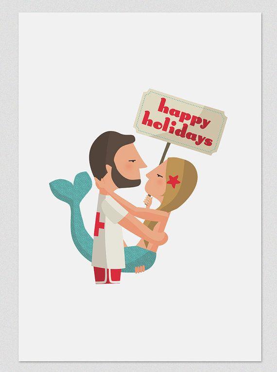 Ilustración. Happy Holidays. Sirena. Póster. Decoración. Regalo. Pared. Habitación. Casa. Hogar. Tutticonfetti