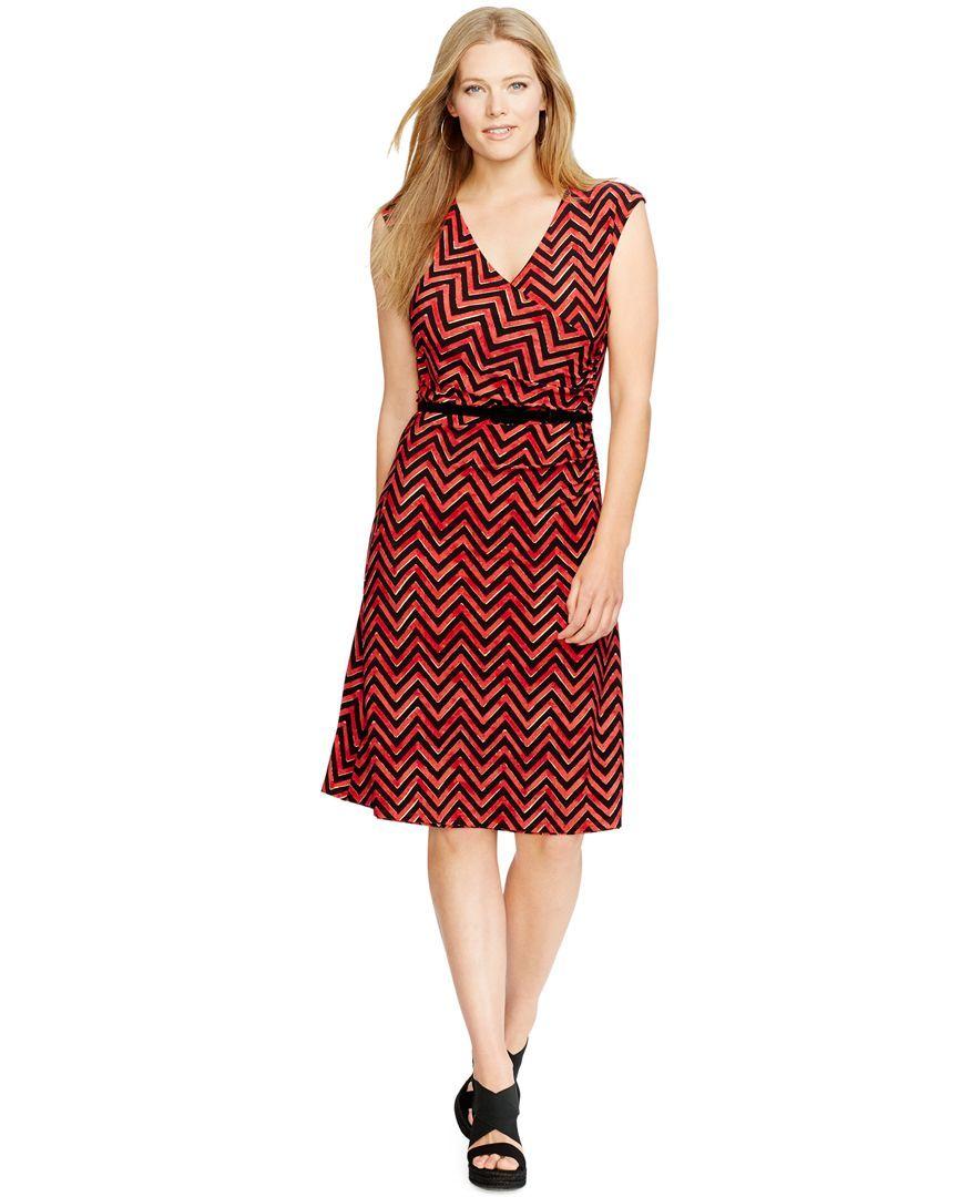 Lauren Ralph Lauren Plus Size Belted Chevron Dress ...