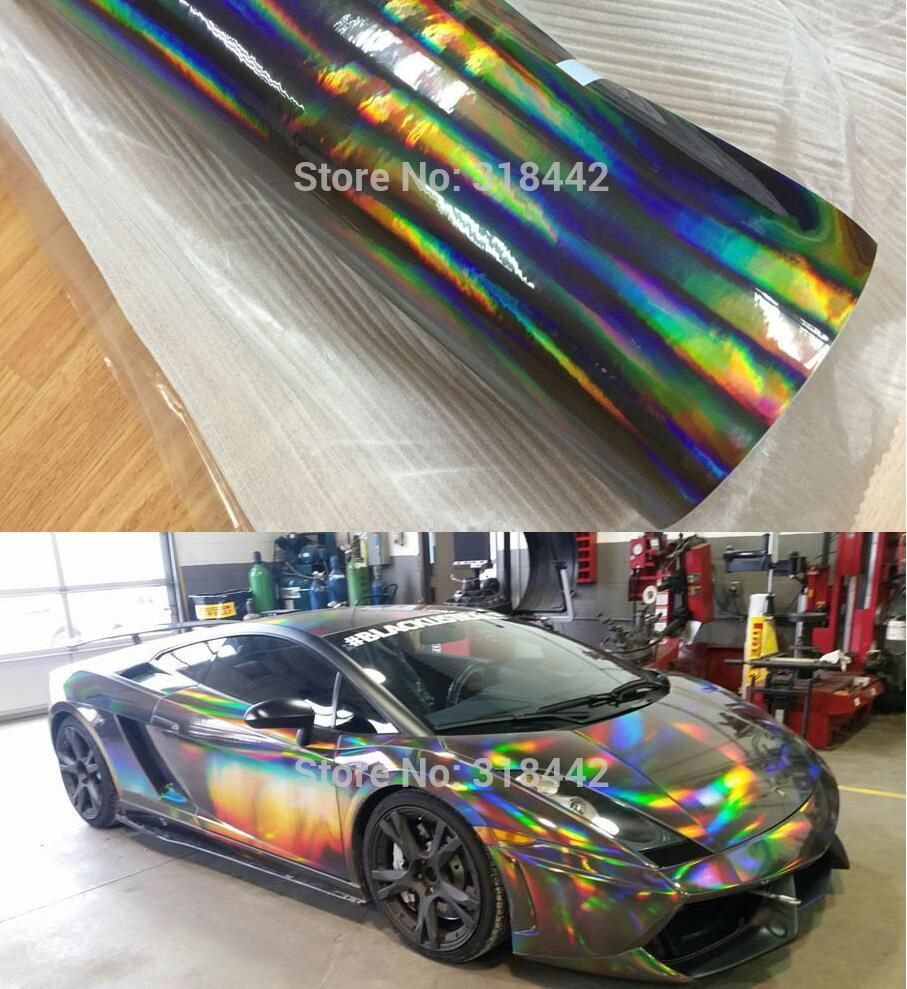 Full roll laser holographic chrome vinyl car wrap rainbow foil film sticker ebay