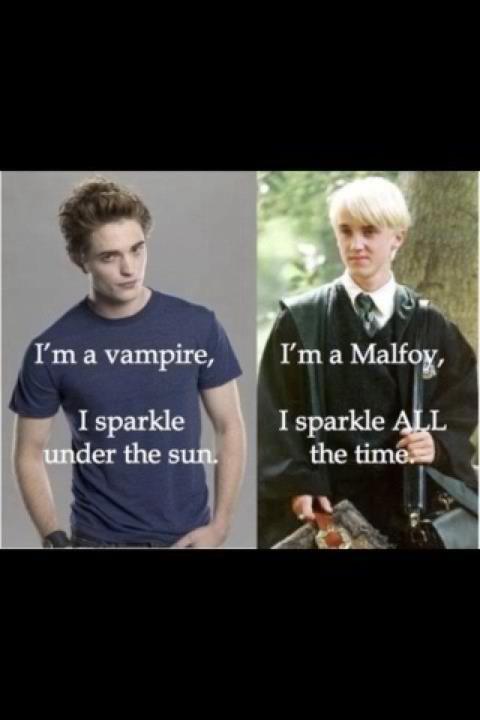 Harry Potter Meets Twilight Harry Potter Draco Malfoy Tom Felton Robert Pattinson Cedric Harry Potter Draco Malfoy Harry Potter Vs Twilight Harry Potter Puns