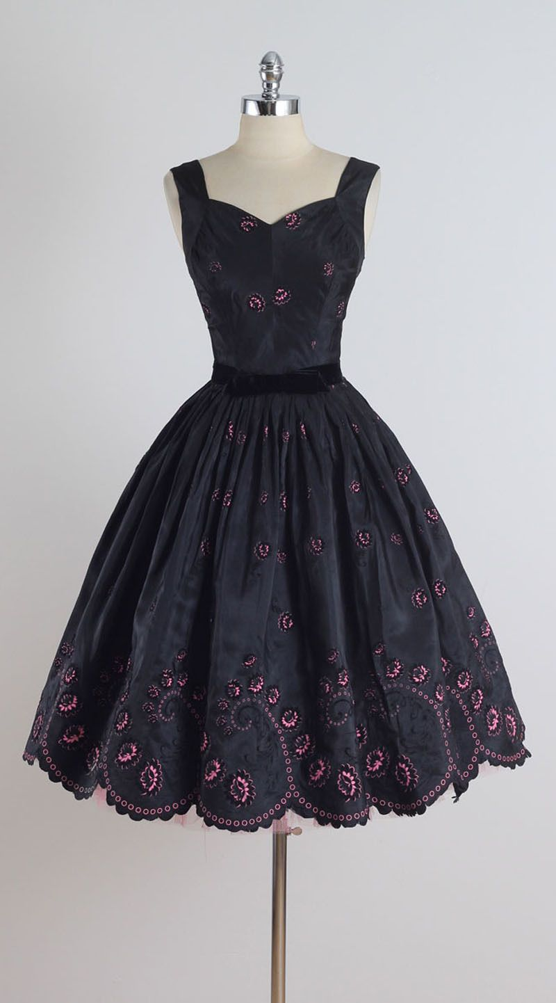 Vintage s Black Pink Flocked Cocktail Dress s Vintage and