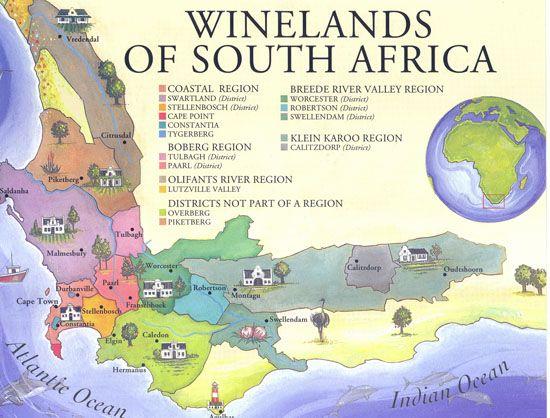 South Africa Wine Region Map | Regiones Vitivinicolas ( Wine
