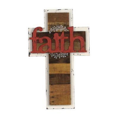 Faith Distressed White Cross Plaque   Kirklands